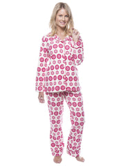 Women's 100% Cotton Flannel Pajama Sleepwear Set - Mandala Cream/Red