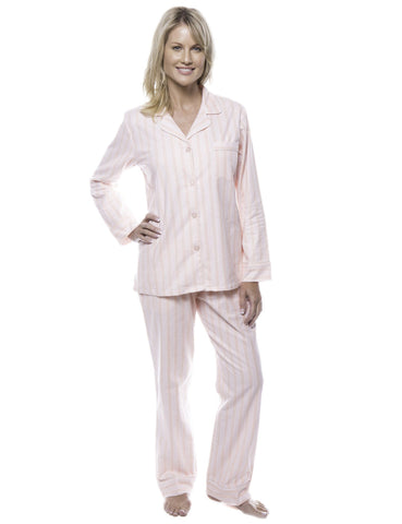 Women's 100% Cotton Flannel Pajama Sleepwear Set - Stripes Pink