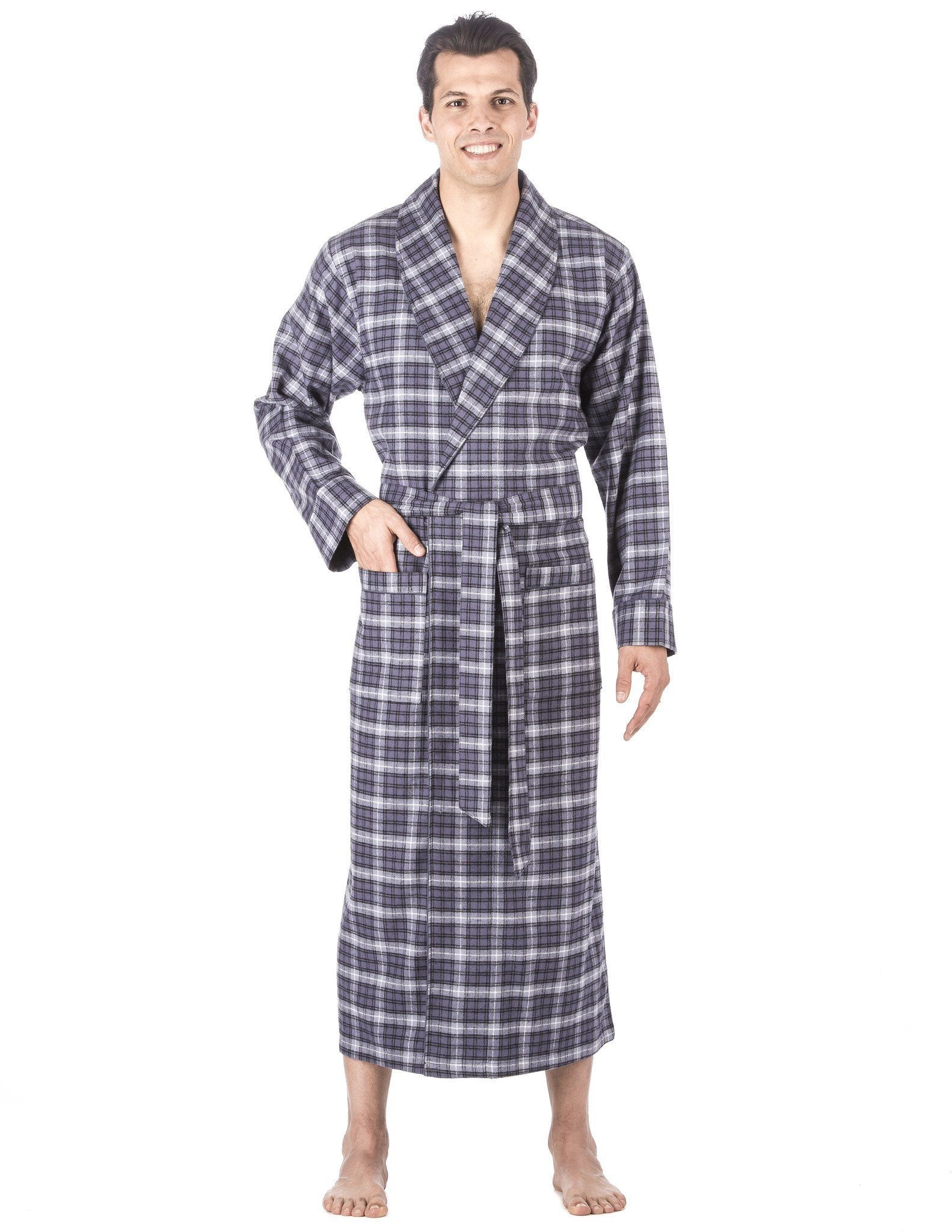 100% Cotton Flannel Robe, Full-Length Mens Bathrobe