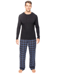 Mens Premium 100% Cotton Flannel Lounge Set - Plaid Navy/Black