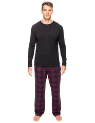Mens Premium 100% Cotton Flannel Lounge Set - Gingham Fig/Black