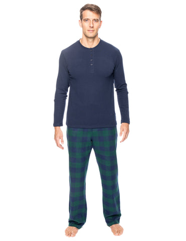 Mens Premium 100% Cotton Flannel Lounge Set - Gingham Green/Navy