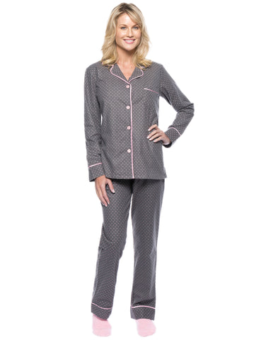 Womens Premium 100% Cotton Flannel Pajama Sleepwear Set - Pindots Charcoal-Pink