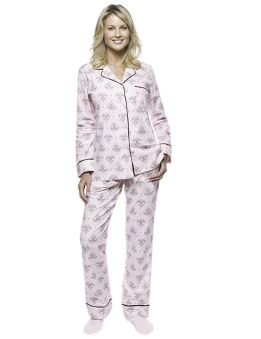 Boxed Pacakged Womens Premium Cotton Flannel Pajama Sleepwear Set with Free Plush Socks - Fleur Pink/Black