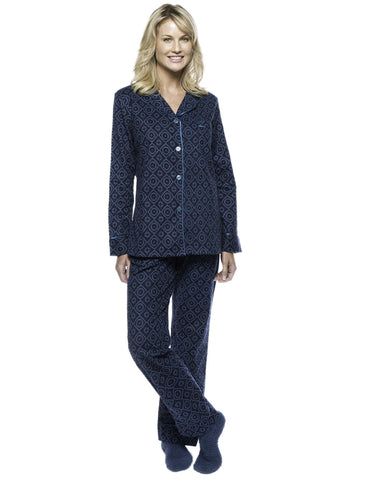 Boxed Pacakged Womens Premium Cotton Flannel Pajama Sleepwear Set with Free Plush Socks - Moroccan Navy/Teal