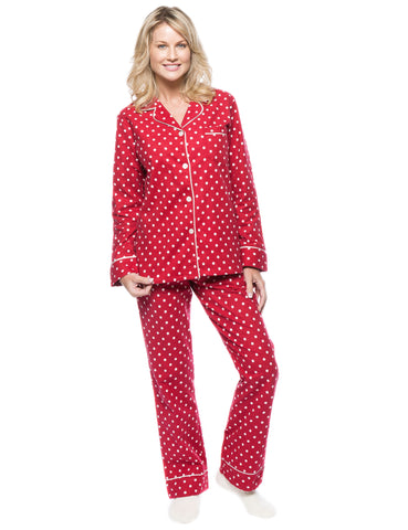 Womens Premium 100% Cotton Flannel Pajama Sleepwear Set - Dots Diva Red-White