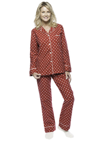 Boxed Pacakged Womens Premium Cotton Flannel Pajama Sleepwear Set with Free Plush Socks - Dots Diva Red