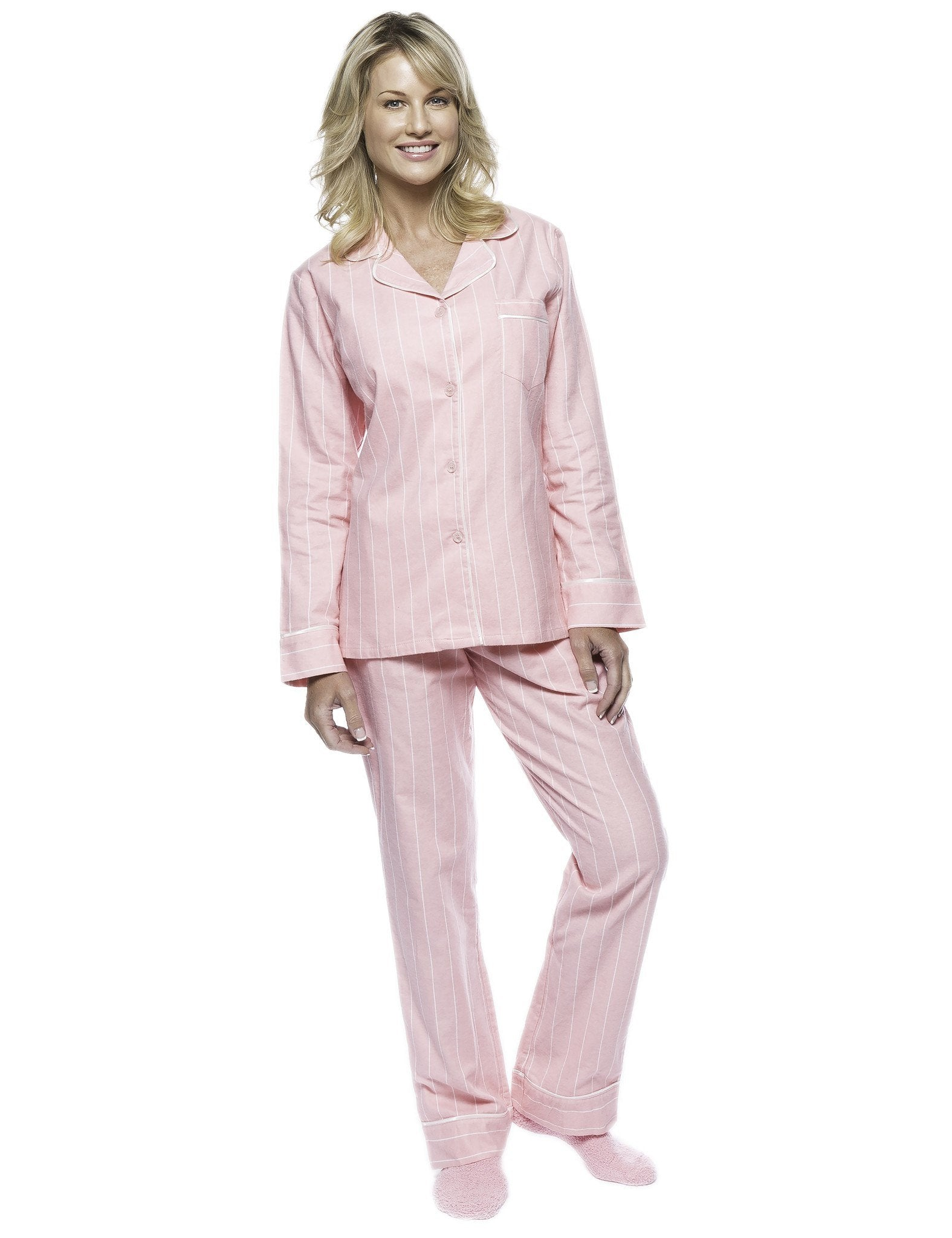 Boxed Pacakged Womens Premium Cotton Flannel Pajama Sleepwear Set with Free Plush Socks - Stripes Pink