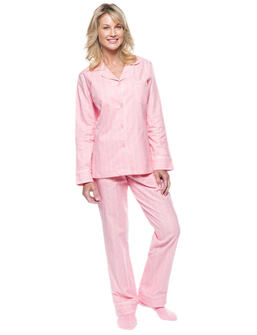 Womens Premium 100% Cotton Flannel Pajama Sleepwear Set - Stripes Pink-White