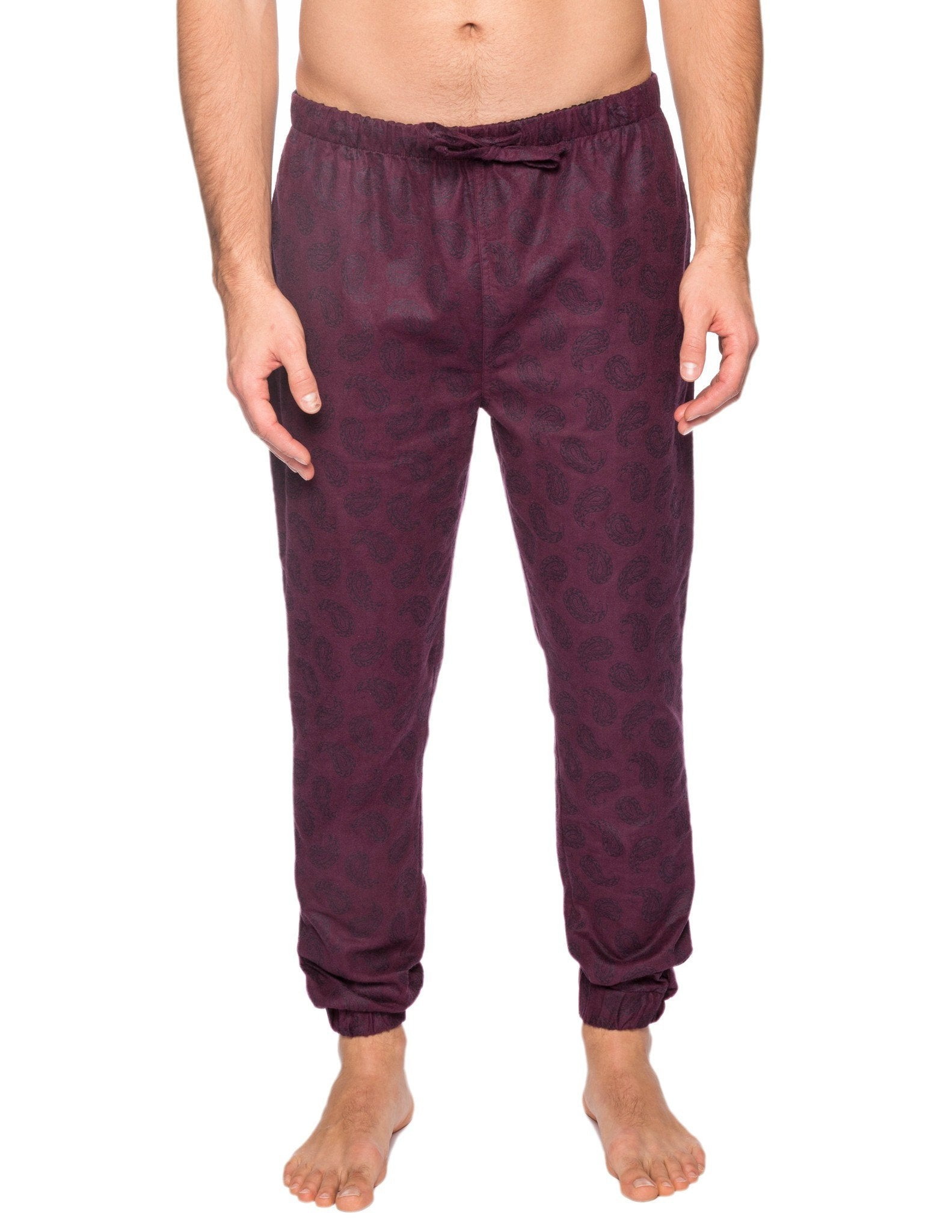 Men's 100% Cotton Flannel Jogger Lounge Pant - Paisley Fig/Black