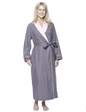Women's Premium Flannel Fleece Lined Robe - Pindots Charcoal