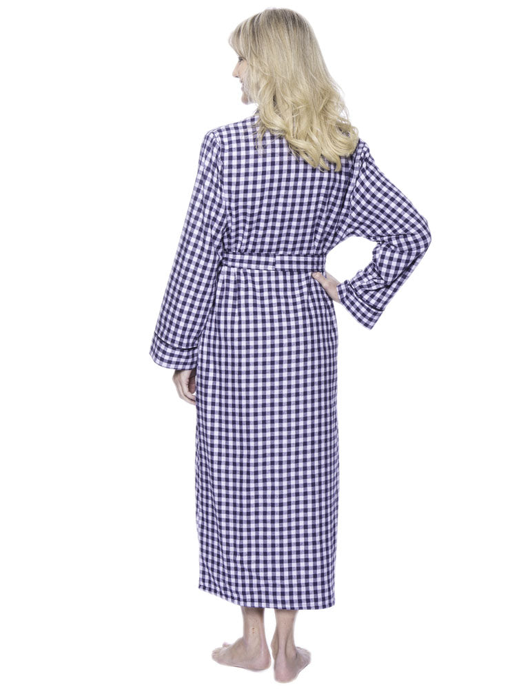 Robes for Women, Cotton Flannel Fleece Lined Womens robe - Gingham Blue