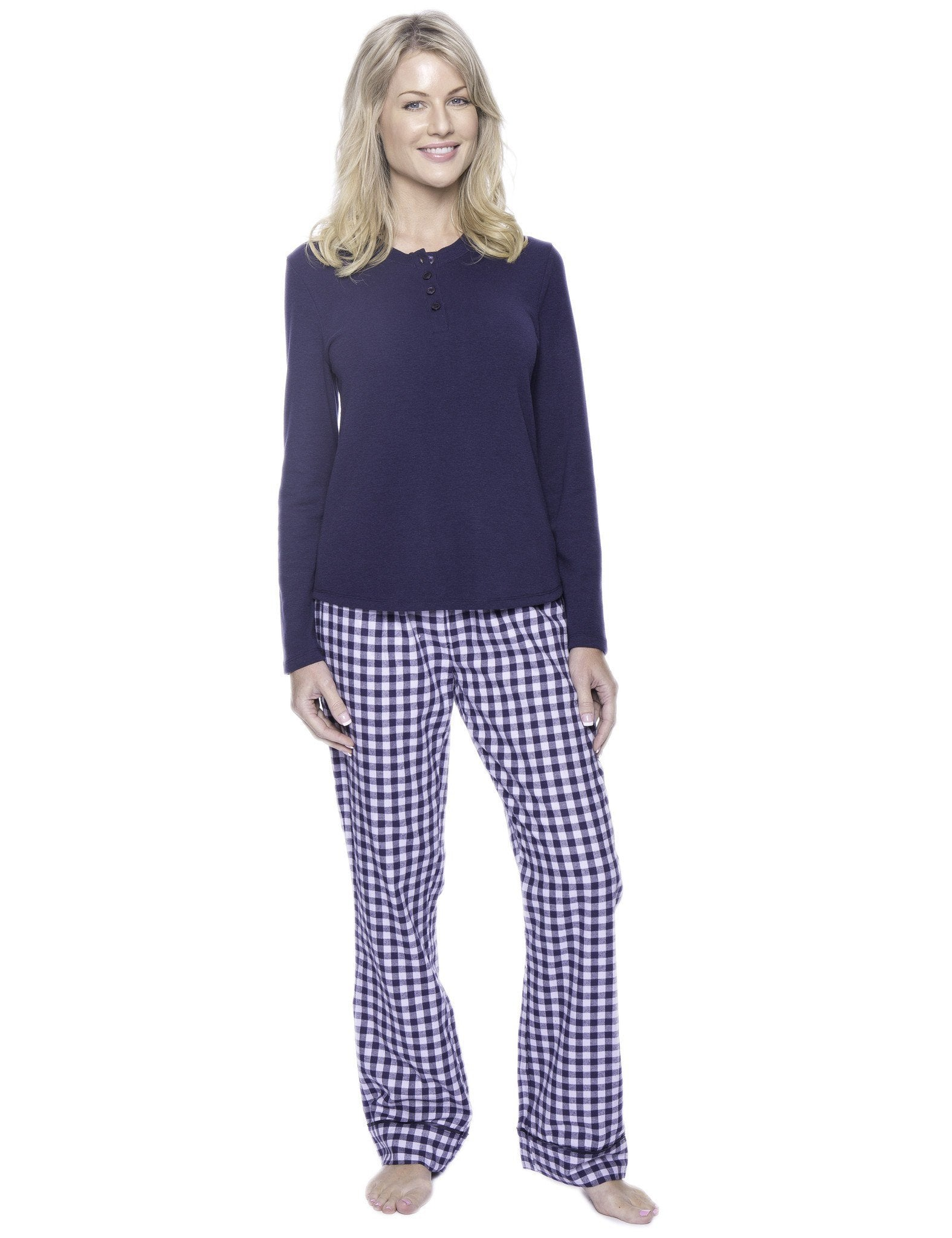 Womens Premium 100% Cotton Flannel Loungewear Set - Gingham Blue/Heather