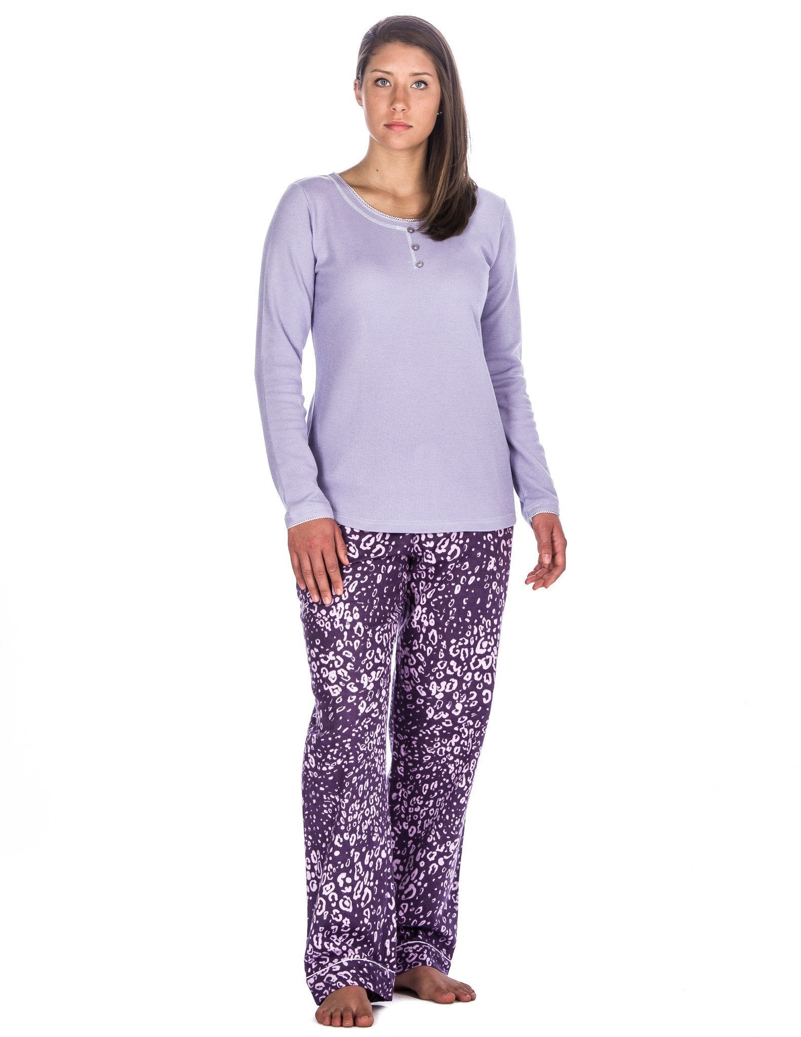 Relaxed Fit Womens Cotton Flannel Lounge Set with Crew Neck Top - Leopard Purple