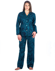 Realxed Fit Womens 100% Cotton Flannel Pajama Sleepwear Set - Leopard Blue