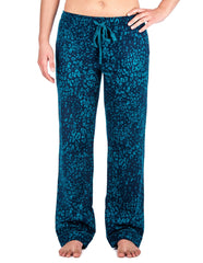 Relaxed Fit Womens 100% Cotton Flannel Lounge Pants - Leopard Blue