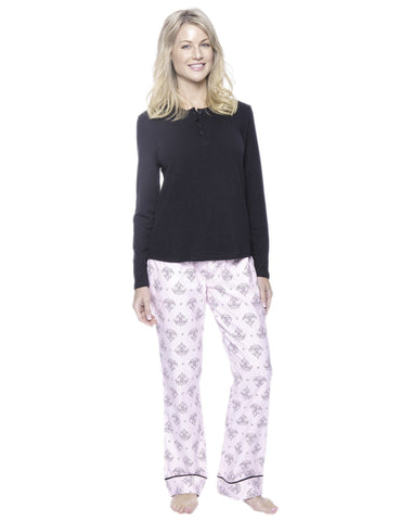 Womens Premium 100% Cotton Flannel Loungewear Set - Fleur Pink/Black
