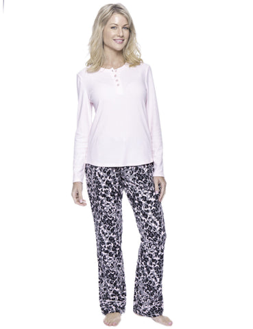 Womens Premium 100% Cotton Flannel Loungewear Set - Leopard Pink/Grey