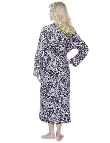 Robes for Women, Cotton Flannel Fleece Lined Womens robe - Leopard PK-GY