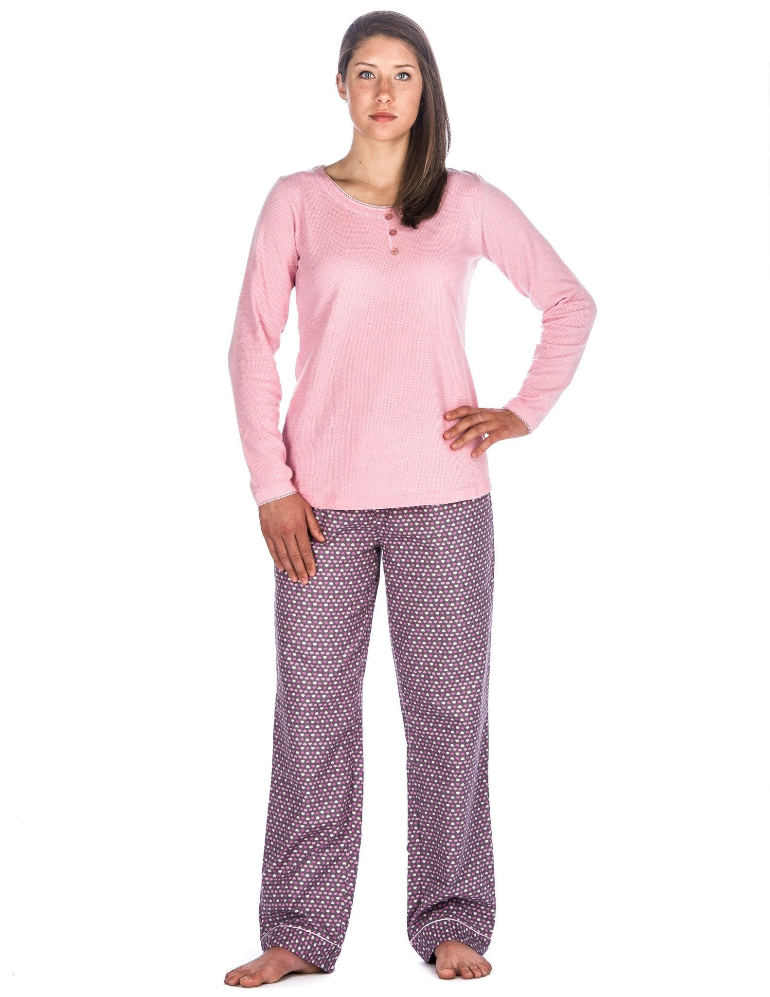 Relaxed Fit Womens Cotton Flannel Lounge Set with Crew Neck Top - Hearts Pink