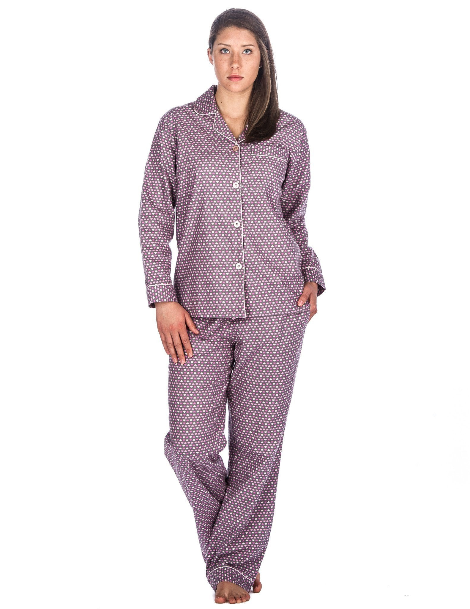 Realxed Fit Womens 100% Cotton Flannel Pajama Sleepwear Set - Hearts Pink