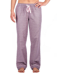Relaxed Fit Womens 100% Cotton Flannel Lounge Pants - Hearts Pink