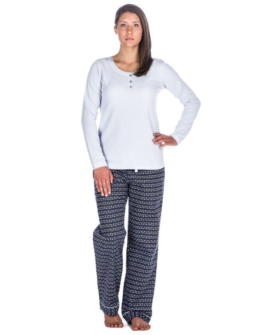 Relaxed Fit Womens Cotton Flannel Lounge Set with Crew Neck Top - Hearts Blue