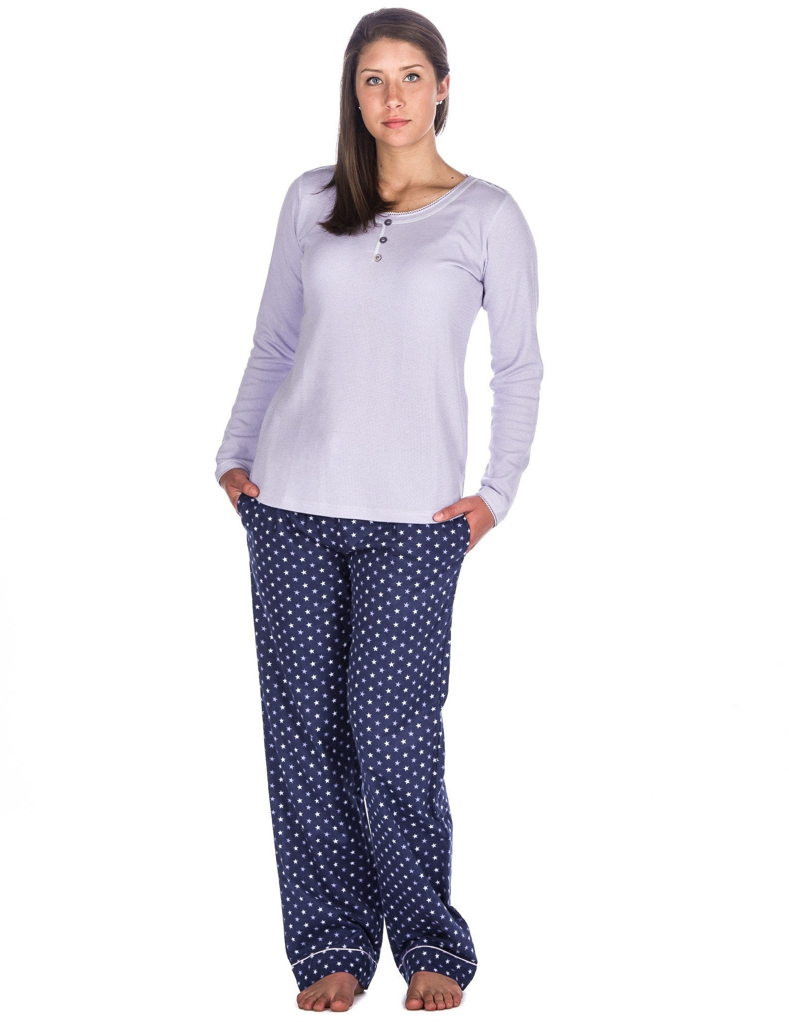 Relaxed Fit Womens Cotton Flannel Lounge Set with Crew Neck Top - Stars Blue