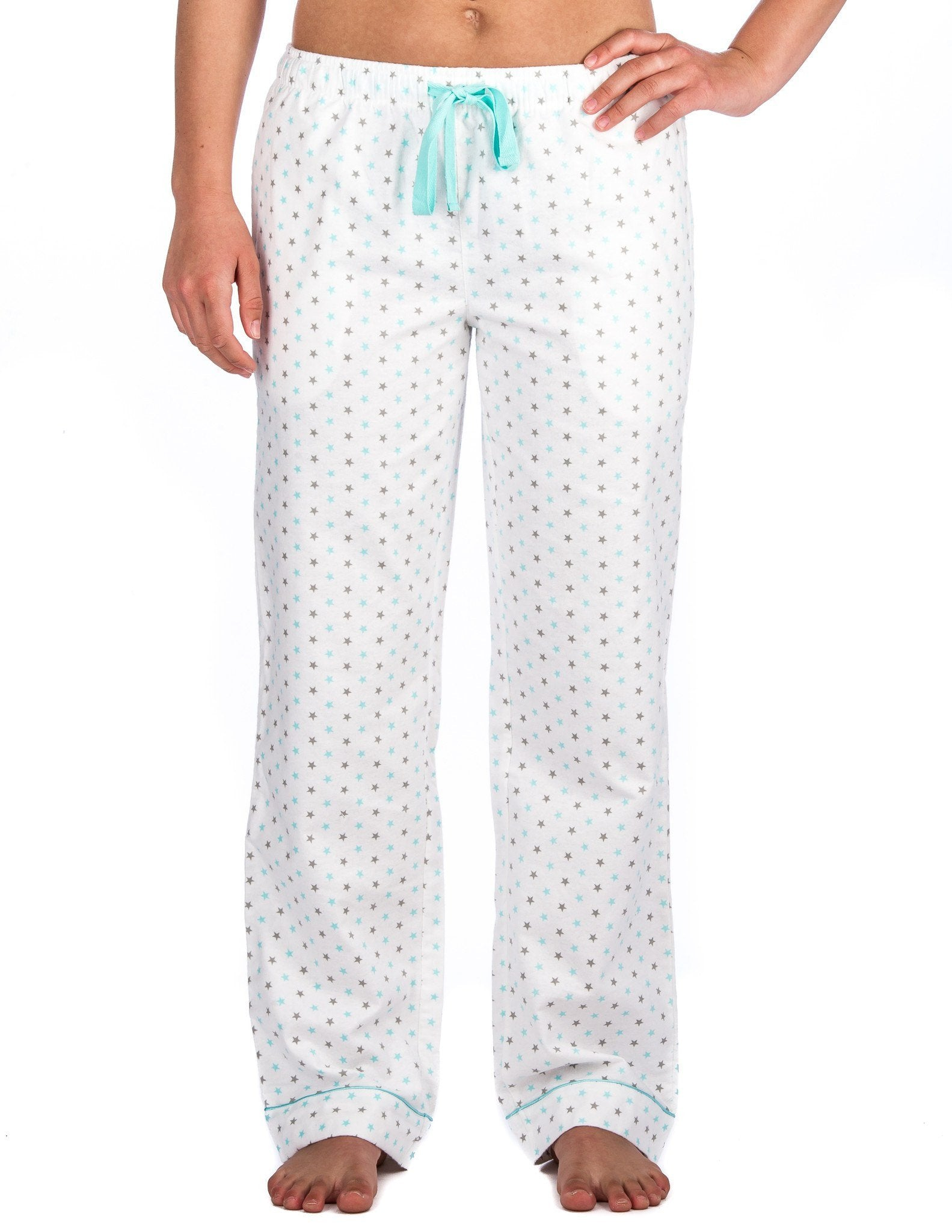 Relaxed Fit Womens 100% Cotton Flannel Lounge Pants - Stars White