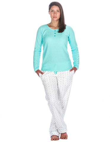 Relaxed Fit Womens Cotton Flannel Lounge Set with Crew Neck Top - Stars White