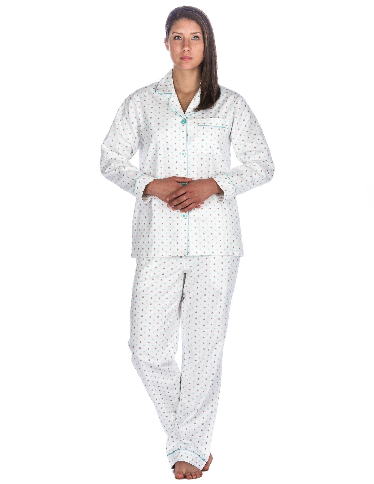 Realxed Fit Womens 100% Cotton Flannel Pajama Sleepwear Set - Stars White