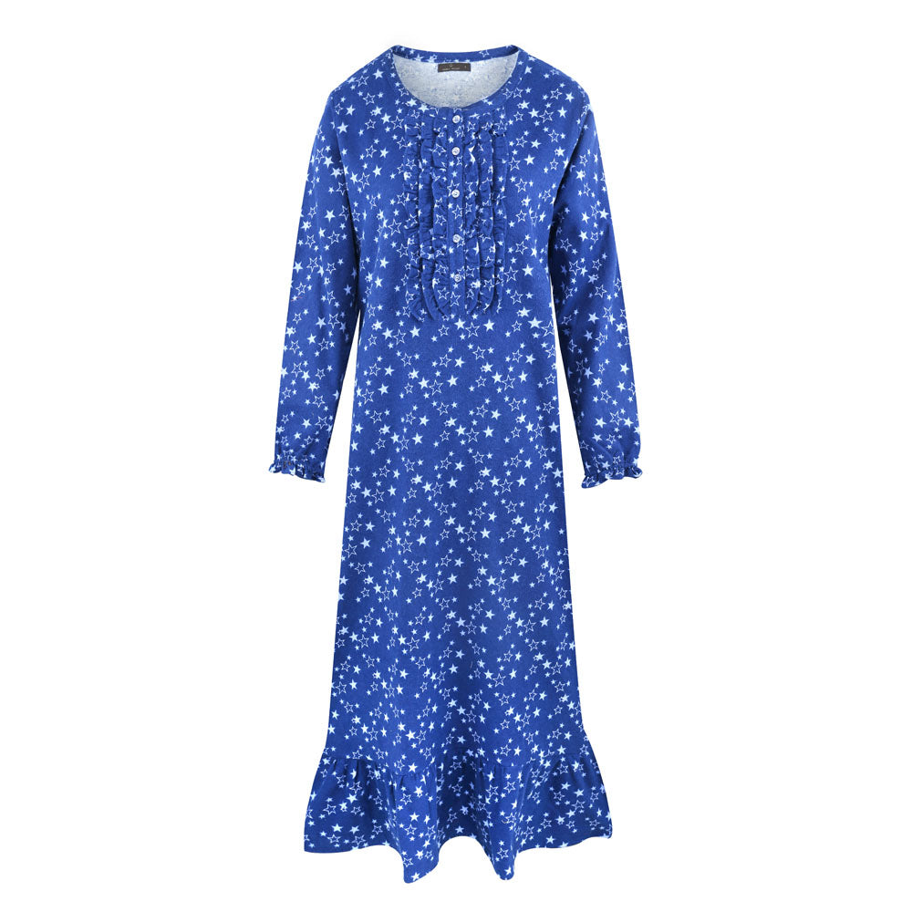 Women's Premium Flannel Long Gown - Starry Nights Blue