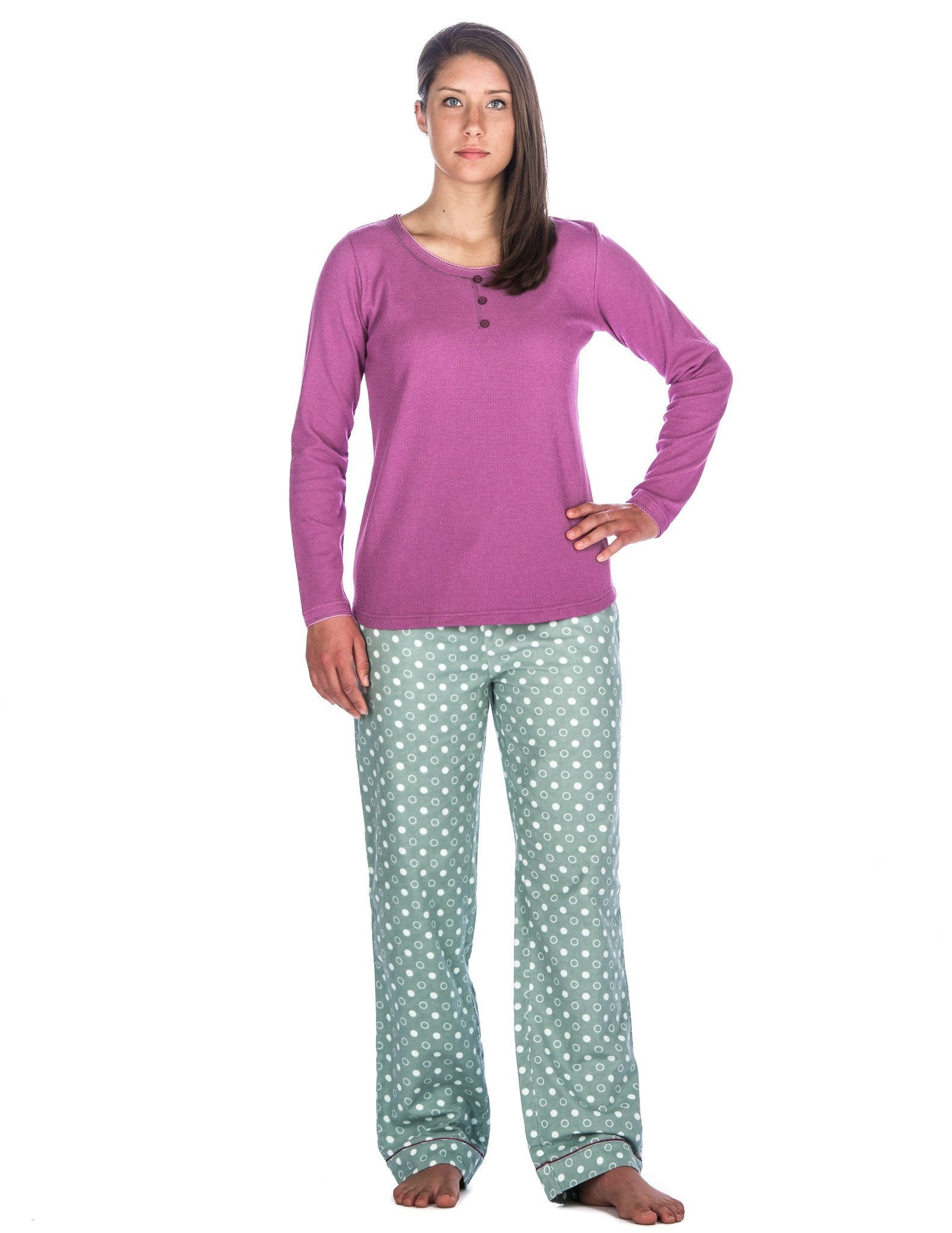 Relaxed Fit Womens Cotton Flannel Lounge Set with Crew Neck Top - Polka Circles Green