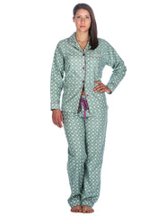 Realxed Fit Womens 100% Cotton Flannel Pajama Sleepwear Set - Polka Circles Green