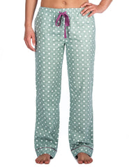Relaxed Fit Womens 100% Cotton Flannel Lounge Pants - Polka Circles Green