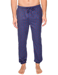 Men's 100% Cotton Flannel Jogger Lounge Pant - Double Diamond Navy/Red