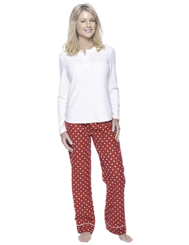 Womens Premium 100% Cotton Flannel Loungewear Set - Dots Diva Red