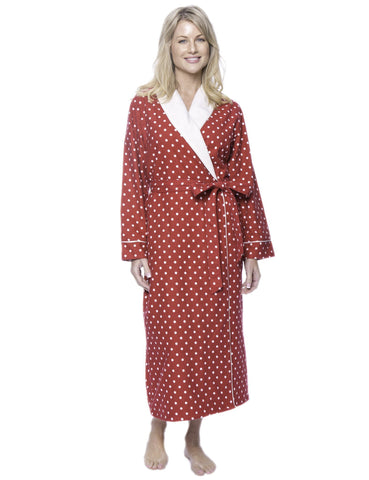 Women's Premium Flannel Fleece Lined Robe - Dots Diva Red