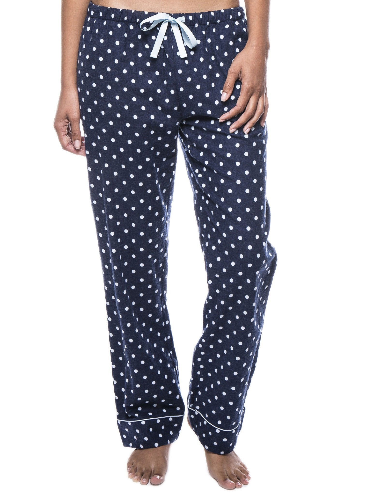 Womens 100% Cotton Flannel Lounge Pants - Dots Diva Dark Blue/Light Blue