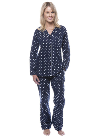 Women's 100% Cotton Flannel Pajama Sleepwear Set - Dots Diva Dark Blue/Light Blue