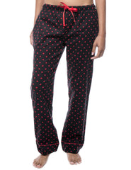 Womens 100% Cotton Flannel Lounge Pants - Dots Diva Black/Red