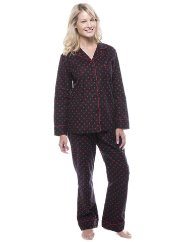 Women's 100% Cotton Flannel Pajama Sleepwear Set - Dots Diva Black/Red