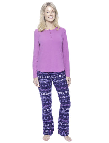 Womens Premium 100% Cotton Flannel Loungewear Set - Nordic Snowflakes Blue