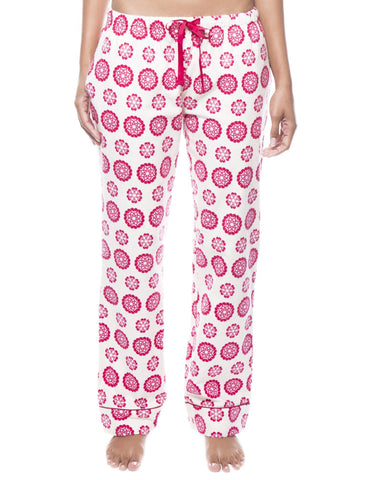 Womens 100% Cotton Flannel Lounge Pants - Mandala Cream/Red