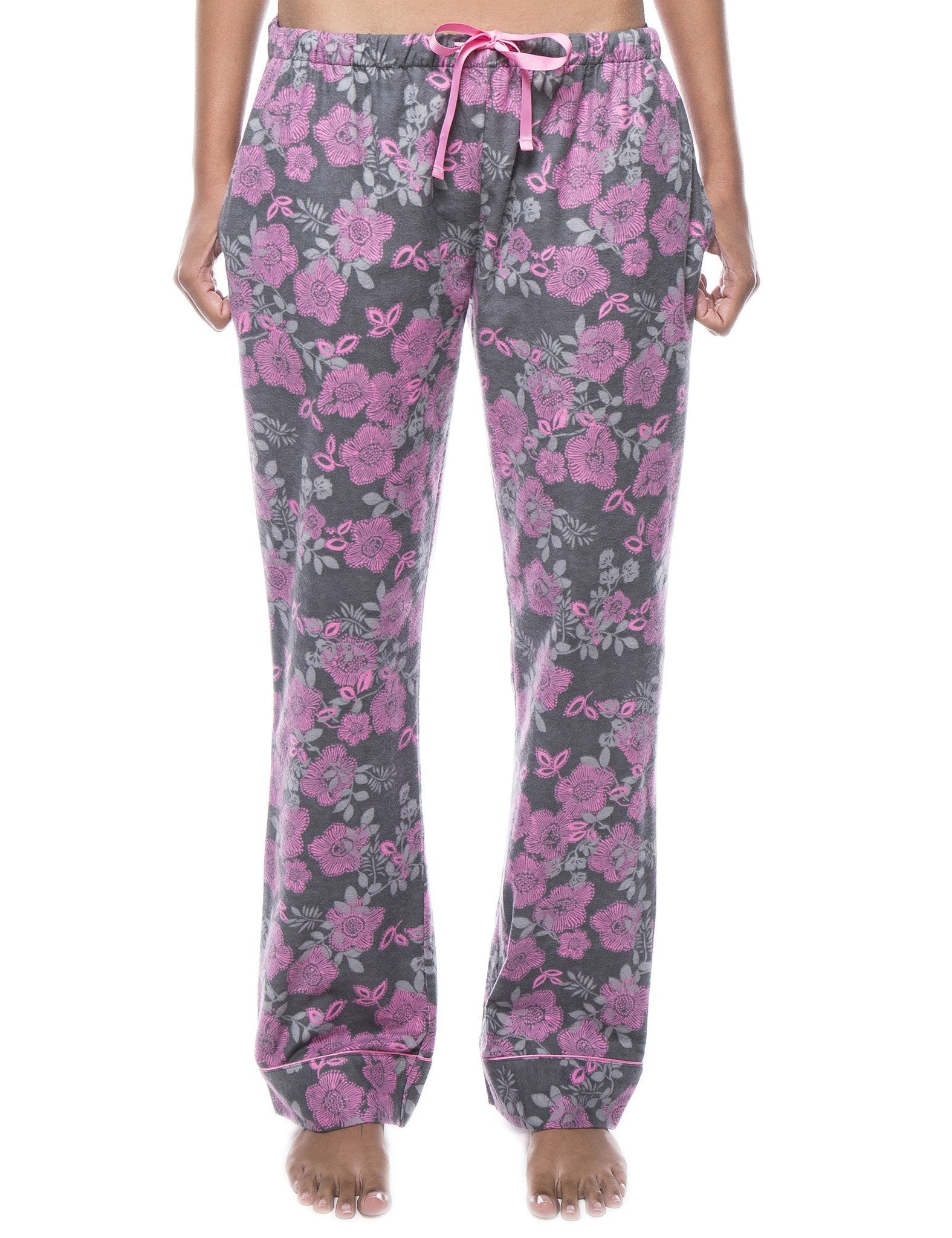 Womens 100% Cotton Flannel Lounge Pants - Floral Grey/Pink