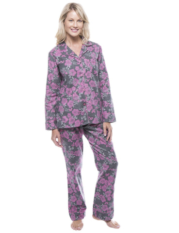 Women's 100% Cotton Flannel Pajama Sleepwear Set - Floral Grey/Pink
