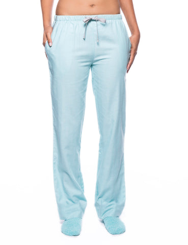 Womens Premium 100% Cotton Flannel Lounge Pants - Herringbone Aqua