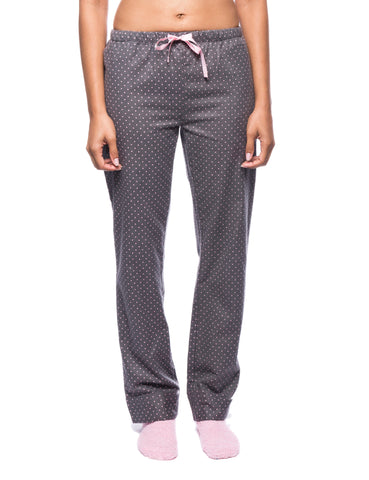 Womens Premium 100% Cotton Flannel Lounge Pants - Pindots Charcoal