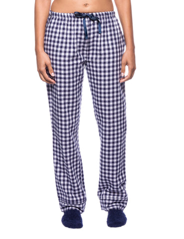 Womens Premium 100% Cotton Flannel Lounge Pants - Gingham Blue/Heather