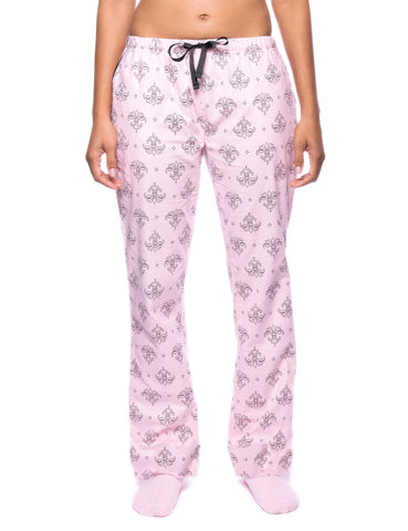 Womens Premium 100% Cotton Flannel Lounge Pants - Fleur Pink/Black